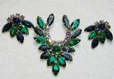 Vintage JULIANA D&E Rhinestone Demi Earrings/Brooch SET