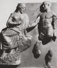 Heracles bringing to Athena the Stymphalian Birds - marble metope of the Temple of Zeus at Olympia, circa 5th c. BC - at the Louvre Museum