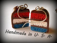 Red White and Blue Chocolate Cake Dangle Earrings. Patriotic Cute Kawaii Polymer Clay Charms Made in USA of ALL USA Materials. Nickel Free.