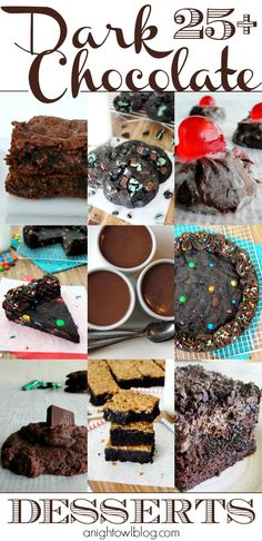 So many delicious dark chocolate dessert recipes! Cookies, cakes and more!