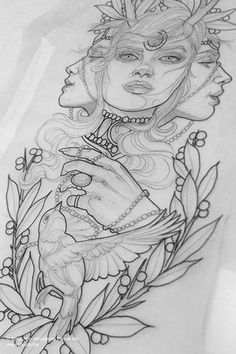 Anime Drawings Sketches, Tattoo Drawings, Nefertiti Tattoo, Neo Traditional Art, Traditional Tattoo Sketches, Neo Tradicional Tattoo, Witchcraft Tattoos, Celestial Tattoo, Meaningful Drawings