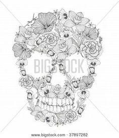 lace mandala tattoo   Skull From Flowers. I really like this a lot!!