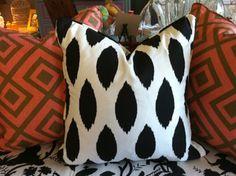 black & white fleckled pillow