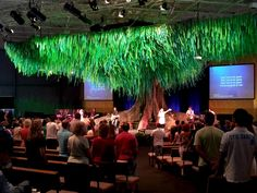 Giant indoor tree. Stage Design. Gateway Baptist Church, Brisbane.