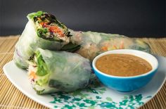Vegetable and Tofu Spring Rolls with Peanut Dipping Sauce- chopped ...