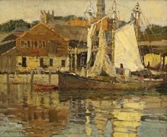 """""""Atlantis Wharf/ Gloucester Mass.,"""" Frederick J. Mulhaupt, oil on board, 8 by 10"""", private collection."""