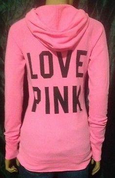 Victoria's Secret PINK Medium M Pullover Neon Thermal Lightweight Hoodie