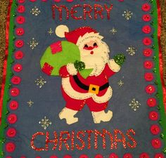 Vintage Christmas Wall Hanging Handmade Felt Santa by ToBeJolly