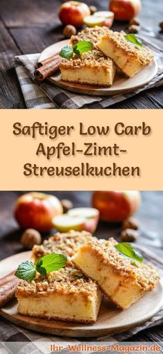 Low Fat Recipes Recipe for Low Carb Apple and Cinnamon Crumble Cake - low in carbohydrates, calorie-reduced . Low Carb Desserts, Healthy Desserts, Healthy Food, Cake Recipe Without Sugar, Gourmet Recipes, Low Carb Recipes, Law Carb, Cinnamon Crumble, Apple Cinnamon