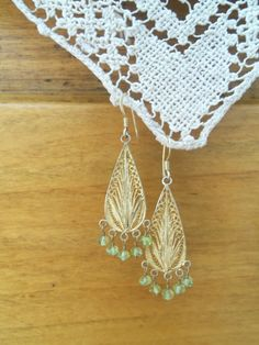 Vintage Gold Plated Silver Drop Earrings by bettyrayvintage
