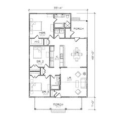 rectangle house plan with 3 bedrooms. no hallway to maximize space ...