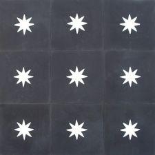 Carreaux de ciment /// black & white tiles /// star pattern