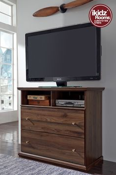#iKidzRooms - Organize your stuff and have the best view of your TV with the Burminson Media Chest. Also great for storing board games and video games! iKidz Rooms® - Kids, Teen and Youth Bedroom Furniture, Storage and Accessories - #KidsBedrooms
