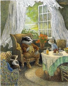 """'Afternoon tea with close friends' by Inga Moore, illustrator of The Wind in the Willows. 📚 📷 The Wind in the Willows is a children's novel by Scottish novelist Kenneth Grahame, first published in Art And Illustration, Book Illustrations, Fantasy Kunst, Fantasy Art, Beatrix Potter, Woodland Creatures, Magical Creatures, Art Nouveau, Book Art"