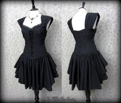 Traditional Gothic Black Lace Up Corset Bodice Style Dress 12 Vampire Romance | THE WILTED ROSE GARDEN