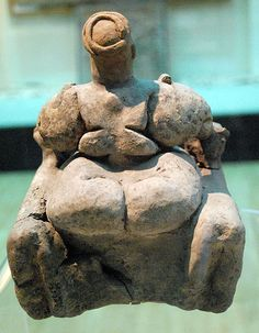Mother Goddess backside of seated statue 6500 BC Catal Huyuk in Turkey