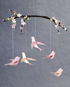 Paper bird mobile - for spring!