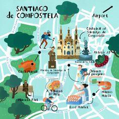 Steve McCarthy - Map of Santiago de Compostela | Carte illustrée de Saint Jacques de Compostelle