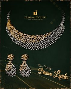 Wear Your Divine Luck! Buy it at Nikkamal Jewellers, Ludhiana & Jalandhar Showrooms Fancy Jewellery, Gold Jewellery Design, Stylish Jewelry, Diamond Necklace Set, Diamond Jewelry, Diamond Pendant, Diamond Bracelets, Gold Jewelry, Indian Wedding Jewelry