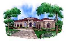 Mediterranean House Plan 78105 Elevation ... like this plan and how the guest bath doubles as a pool bath. I would have the 2nd & 3rd bedroom with the bath in the middle turned into a 2nd master bedroom. We don't need more than 2 bedrooms. Could also turn the 3rd bedroom into a Exercise room.