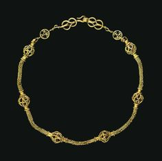 Early Byzantine gold necklace, dated to the 4th century CE.
