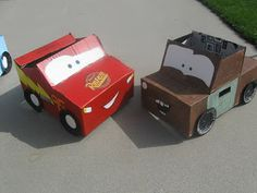 The Brown Eyes Have It: Disney Cars Birthday Party!! Cars themed cardboard box cars!!! Love :)