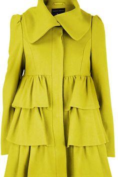 Dorothy Perkins Ruffle Coat. Chartreuse love!!!