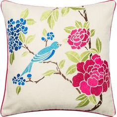 Bluebird Embroidered Pillow