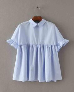 Novelty cropped women summer lapel collar blouses lady fold lotus sleeves loose shirt tops with bow Bow Shirts, Loose Shirts, Shirt Blouses, Linen Dress Pattern, Pleated Shirt, Pink Prom Dresses, Whimsical Fashion, Collar Blouse, Babydoll Dress