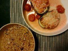 Gevulde ronde courgettes en rijst met amandel en mandarijneschil