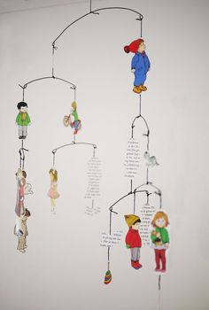 great idea for a child's mobile. use pictures from a favourite or vintage book.