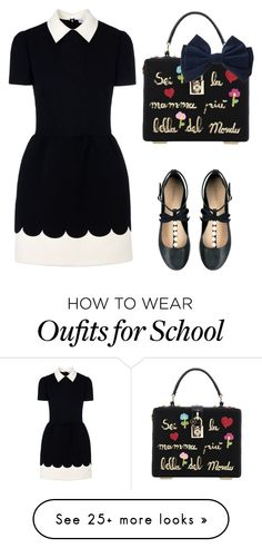 """""""school"""" by bbbd-i on Polyvore featuring Topshop, Dolce&Gabbana and RED Valentino"""