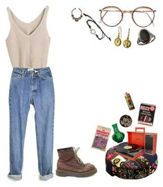 """""""22 : 37"""" by fourruredesbois ❤ liked on Polyvore featuring Dr. Martens, Dot & Bo, Blackbird and Hot Topic"""