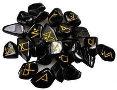 RUNES Black Tourmaline rune set Wicca Pagan Celtic Druid Elder Futhark runes     Hand carved, this 25 rune set portrays the Elder Futhark on Black Tourmaline in gold lettering, resulting in an exquisite aid for your divination and other such ritual magic.