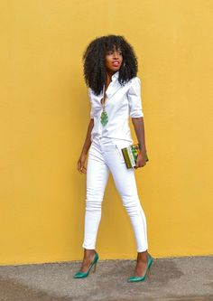 White on white with a touch of green courtesy of Folake of StylePantry.com.