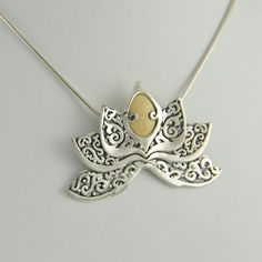 """[651] sterling silver fossilized mammoth ivory lotus flower pendant on 18"""" snake chain"""
