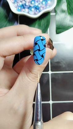 Easy Blue Nail Art Designs Tutorial , visit the website for more nail art tutorials. Girls Nail Designs, Pedicure Designs, Nail Art Designs, Acrylic Nail Art, Nail Art Diy, Easy Nail Art, Image Nails, Pedicure Nail Art, Nail Art Videos