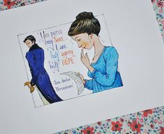 "Jane Austen, 'Persuasion' illustration PRINT (limited edition): ""You pierce my soul"". The BEST of Jane Austen, in my opinion"