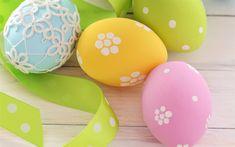 تحميل خلفيات بيض عيد الفصح, احتفالية الديكور, الشريط الحرير الأخضر, عيد الفصح
