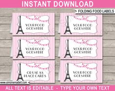 Paris Party Food Labels | Food Buffet Cards | Place Cards |Printable Party Decorations | DIY Editable template | $3.00 Instant Download via simonemadeit.com Party Food Label Template, Party Food Labels, Party Food Themes, Label Templates, Party Printables, Paris Party, Paris Birthday Parties, Happy Birthday, Paris Theme