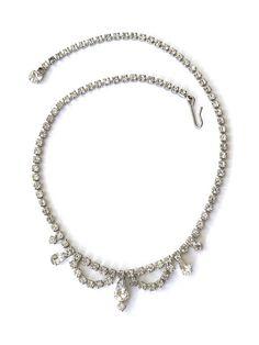 Vintage Rhinestone Bridal Necklace Clear Rhinestone Choker