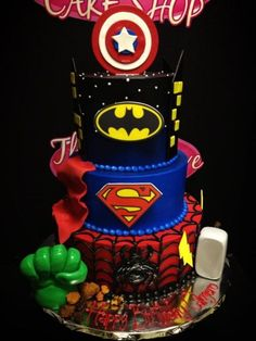 Awesome avengers cake for cody? but want only hulk, iron man, capt america, thor, arrow and black widow on it. Avengers Birthday Cakes, Superhero Birthday Party, 3rd Birthday Parties, Cake Birthday, Marvel Cake, Batman Cakes, Marvel Dc, Avenger Cake, Superhero Cake