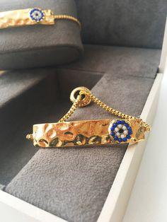 Items similar to evil eye bracelet - gold plated evil eye bracelet - gold evil eye bead bracelet - blue evil eye charms - adjustable bracelet on Etsy Gold Plated Bracelets, Beaded Bracelets, Evil Eye Charm, Evil Eye Bracelet, Adjustable Bracelet, Hamsa, Plating, Unique Jewelry, Jewelry Ideas