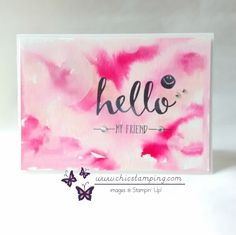 handmade greeting card: Hello my friend . watercolor background uses watercolor paper ad reinker . Watercolor Background, Paper Background, Watercolor Paper, Fun Cards, Paper Cards, Paper Marbling, Diy Gift Box, Cards For Friends, Greeting Cards Handmade