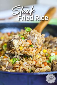Better than takeout and SO EASY! This Steak Fried Rice is a family favorite recipe. It is made in just one pan so it is quick to make and clean up, and everyone always cleans their plate. This is one of our favorite beef dinner recipe ideas! Easy Rice Recipes, Ground Beef Recipes Easy, Beef Recipes For Dinner, Healthy Recipes, Shrimp Recipes, Sausage Recipes, Beef Dinner Ideas, Leftover Steak Recipes, Ramen Recipes