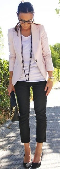 Blazer or light colored cardigan, cropped black pants, black flats, casual plain top, statement necklace
