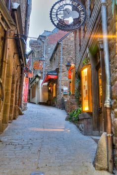 The narrow streets of Mont St Michel, France