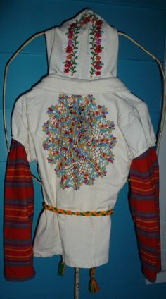 Boho Hippie Upcycled Hoodie/ Eco Chic Mexican Embroidery Doily Applique Sweatshirt/ XS-Medium. Vintage Sweetie Mama via Etsy.