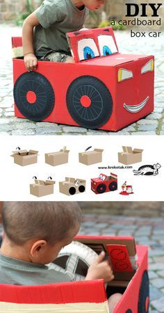 DIY Cardboard Box Car - maybe with a cut at the bottom for their legs and straps for over their shoulders. haha. I could see them now; running around the backyard with these!