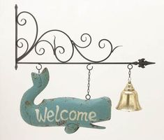 This Stunning Metal Wall Welcome Sign features a metallic stand atop with…